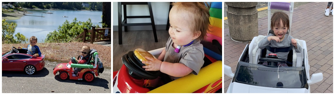 photos of babies driving Go Baby Go cars